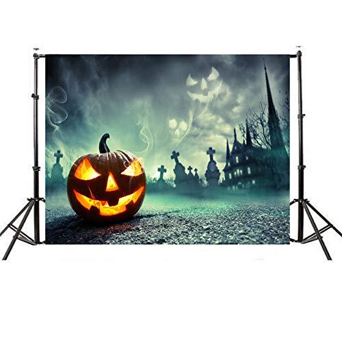 Wensltd Clearance! Halloween Backdrops Pumpkin Vinyl 5x3FT Lantern Background Photography Studio (H) ()