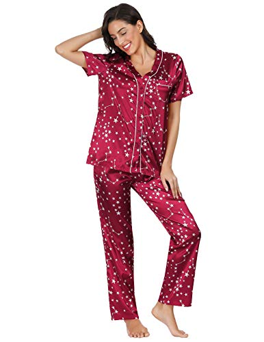 (Womens Sets Smooth Satin Plus Size Pajama Set Short Sleeve Wine Red 2XL as Gift)