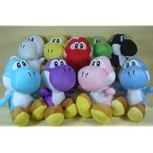 """Super Mario Brothers Set Of 9 Yoshi Plush 6"""" Dolls Featuring Green Yoshi, Red Yoshi, White Yoshi, Purple Yoshi, Light Blue Yoshi, Dark Blue Yoshi, Black Yoshi, Yellow Yoshi, And Pink Yoshi"""