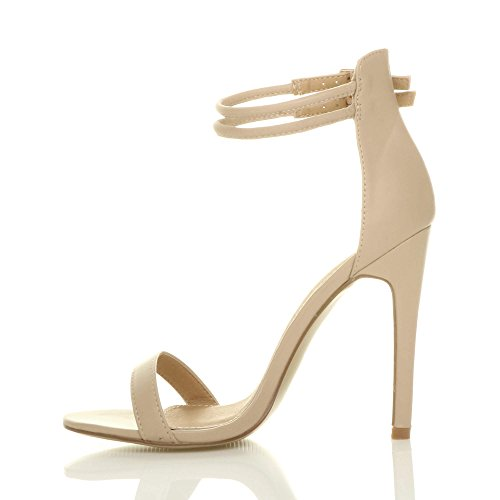 Women Sandals Matte Ajvani Shoes Barely Size Strappy Nude High Heel There AxRqf