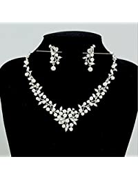 Bella-Vouge -Exquisite bridal jewelry necklace sets rhinestone leaf pearl necklace earrings-NO.416