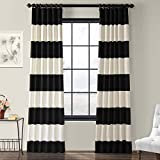 PRCT-HS06-96 Horizontal Stripe Cotton Curtian, 50 x 96', Onyx Black & Off-white