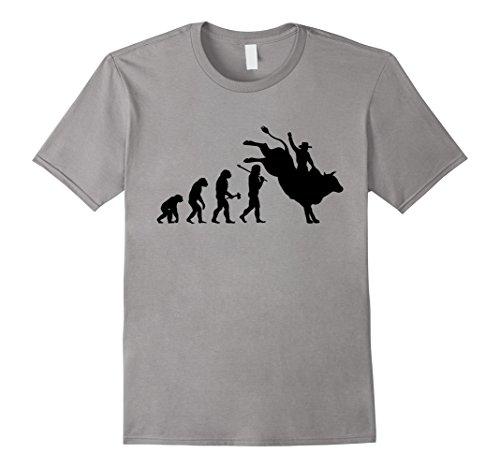 Bull Rider Rodeo (Mens Rodeo Bull Rider Evolution Funny Cowboy T-Shirt Medium)