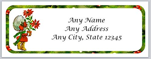 120 Personalized Return Address Labels Christmas Vintage Girl Holding Poinsettia (ac 31)