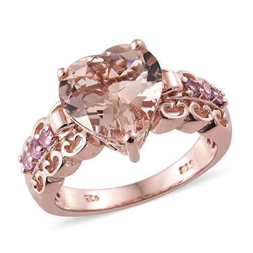 925 Sterling Silver Vermeil Rose Gold Plated Heart Morganite Pink Sapphire Ring For Women Size 6 Cttw 3.8