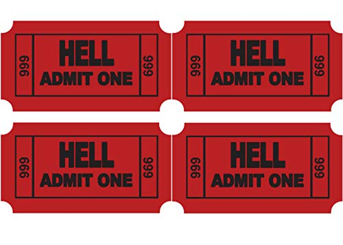 (4 Pack) Ticket to Hell Vinyl Sticker Decal - Full Color Printed - for Hard Hats, Helmets, MacBook, Toys, Tumblers, Phones, Binders or for Any Clean Smooth Flat Surface