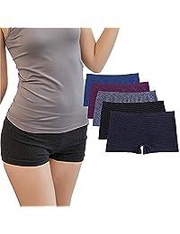 Ruxia Women's Boyshort Underwear Seamless Panties Nylon Spandex Breathable Boxer Briefs Panty 5 Pack