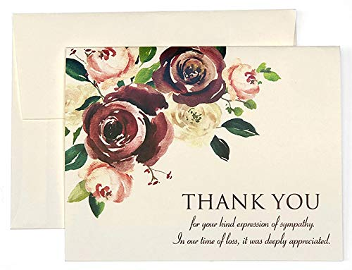 Sympathy Thank You Cards Funeral - 20 Folded Cards With Envelopes - Funeral Thank You Cards - Bereavement Thank You Cards