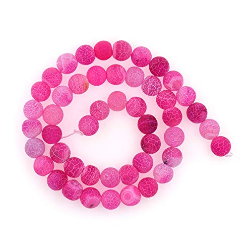 10mm Natural Fuchsia Crackle Agate Beads,Round Matte Gemstone Beaded Charm for Bracelet/Necklace Findings 1 Strand ()