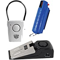 Apartment Safety Bundle: Super Safety Door Stop Alarm, Streetwise Pro Tech Door Alarm and Wildfire 18% 1/2 Oz Pepper Spray - Lot of 3 Pieces (Blue Wildfire)