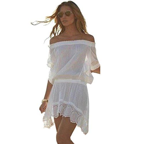 AMA(TM) Women Sexy Off Shoulder Chiffon Bikini Cover Up Swimwear Beach Dress (XL, White)