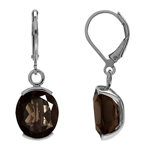 - 8.92ct. Natural Smoky Quartz White Gold Plated 925 Sterling Silver Leverback Dangle Earrings
