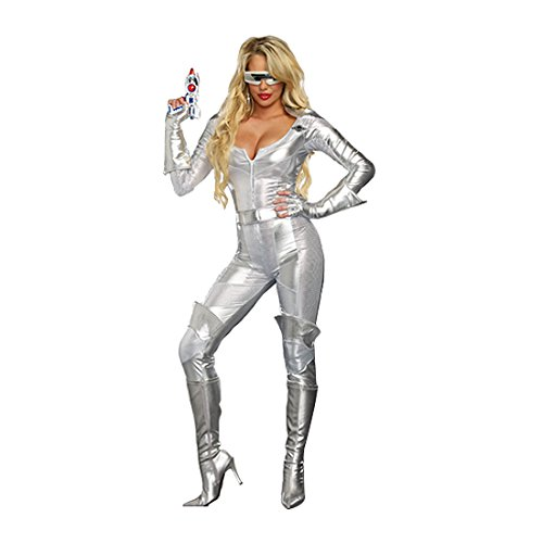 Dreamgirl Women's Space Wars Intergalactic Galaxy Hero Costume, Silver, Small (Women Space Costume)