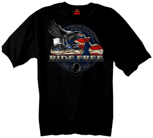 Hot Leathers Flag Bike 100% Cotton Double Sided Printed Biker T-Shirt