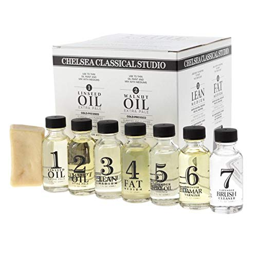 Chelsea Classical Studio Complete Oil Painting Mediums Sampler Set - Sampler Set of Brush Cleaners, Varnishes, Mediums, Linseed Oil, Walnut Oil, and Brush Soap - [Sampler Set] Complete Oil Painting Set