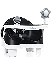 INFANS 3-in-1 Baby Booster Seat   Portable Floor, Feeding, and Booster Chair with Detachable Double Trays, Removable Toy, Safety Harness, Adjustable Heights, Portable Washable Dining Chair