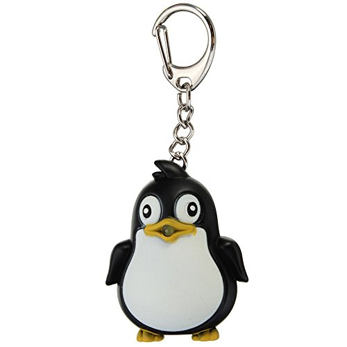 Potato001 Cute Animal Penguin LED Light with Sound Key Chain Key Ring Torch Xmas Gift (Penguin Key)