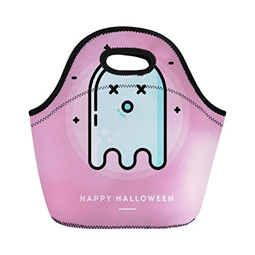 Semtomn Lunch Tote Bag Face Cute Ghost Flat Thin Line Halloween Dead October Reusable Neoprene Insulated Thermal Outdoor Picnic Lunchbox for Men -