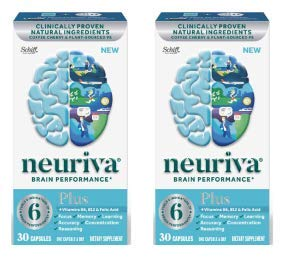 Fast-Acting Brain Supplement - NEURIVA Plus (30Count in a Bottle), Plus B6, B12 & Folic Acid, Supports 6 Indicators of Brain Performance: Focus, Memory, Learning, Accuracy, Concentration (Pack of 2)