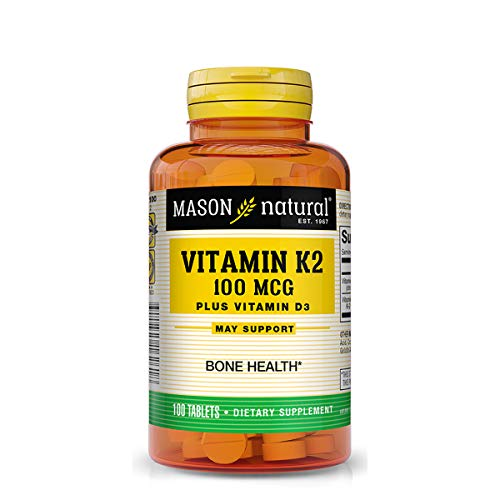 Mason Natural Vitamin K2 Plus D3, 100 Tablets Dietary Supplement
