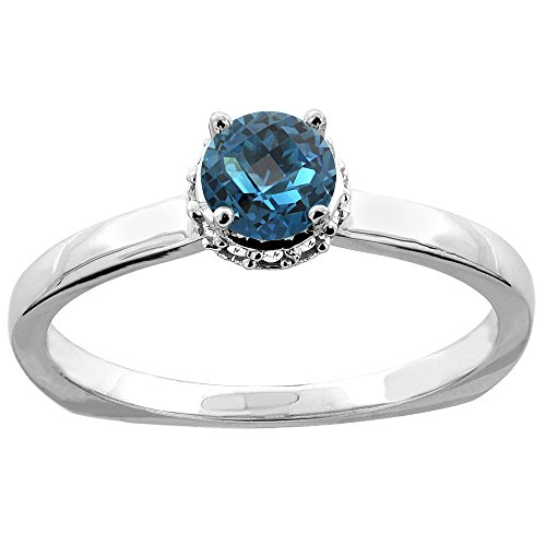 10K White Gold Natural London Blue Topaz Solitaire Engagement Ring Round 4mm Diamond Accents, size 10