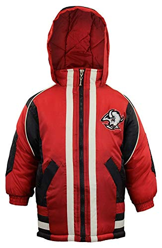 Mighty Mac Buffalo Sabres NHL Little Boys Toddlers Vintage Full Zip Hooded Jacket Coat, Black & Red (4T)