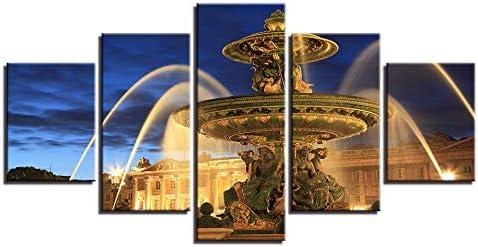 SFFLILY Cuadro En Lienzo - Abstracto Impresión De 5 Piezas Material Tejido No Tejido Impresión Artística Imagen Gráfica Decoracion De Pared-Italia Trevi Fuente 30X40Cmx2 30X60Cmx2 30X80Cmx1