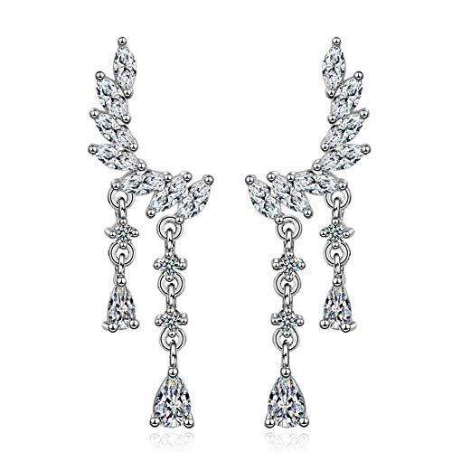 - Wings of Angel Ear Cuff Orris Sterling Silver Earring Wrap Stud Set (Drop Wings)