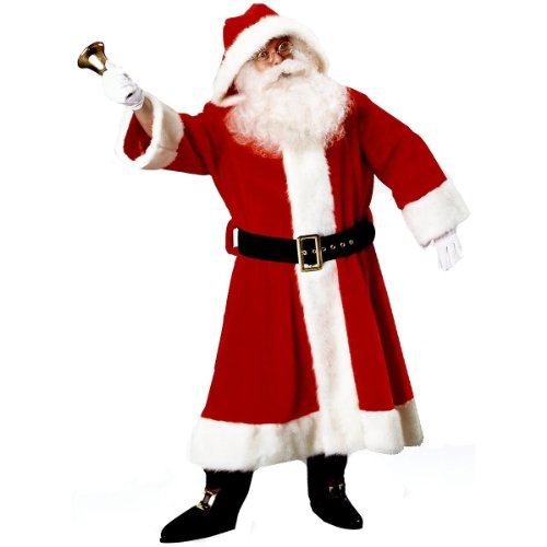 Deluxe Old Time Santa Suit - Santa Claus Suit (Plush Old-Time) Christmas Costume Size Standard