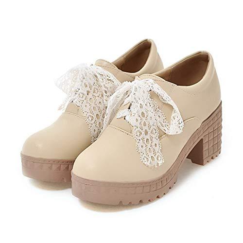 Unie Légeres Talon AalarDom Beige Lacet Correct PU à TSFDH005703 Cuir Femme Couleur Chaussures wfv6v0pnq