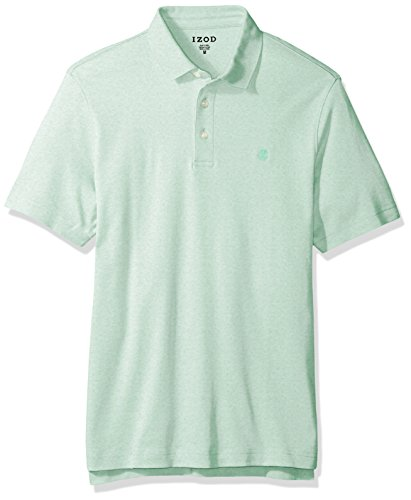 IZOD Men's Solid Interlock Polo Shirt, Dusty Jade Green, X-Large (Knit Cotton Button)