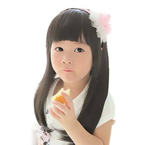 Fashion Black Straight Wigs for Kids Child Flat Bangs Heat Friendly Cosplay Wig -