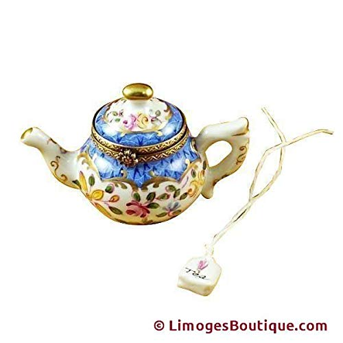 TEAPOT BLUE SCALES W/TEA BAG - LIMOGES BOX AUTHENTIC PORCELAIN FIGURINE FROM FRANCE