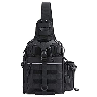 Fyland Tactical Sling Backpack Small Waterproof EDC Shoulder Bag Plenty of Pockets for Fishing, TB12, Black