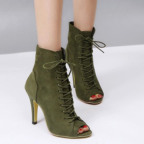 Up OverDose Peep Heels Boot Toe Lace High Heels Green Ankle Women's O6fT0qw