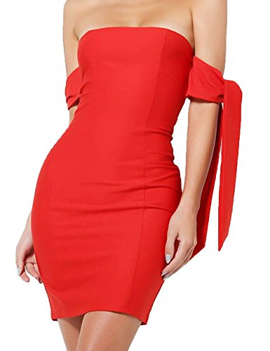 Womens Off Shoulder Dress Sexy Bodycon Club Party Mini Dresses Red S
