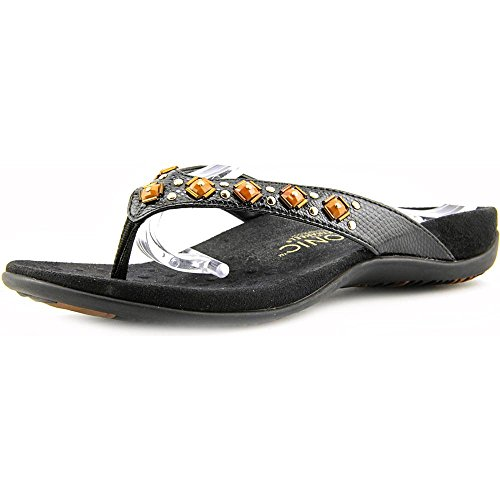 Vionic Women's Rest Floriana Toepost Sandal - Ladies Flip Flops with Concealed Orthotic Support Black Croco 6 M US