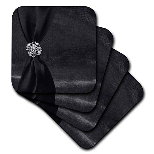 3dRose Beverly Turner Satin Ribbon Design - Charcoal Satin Ribbon on Velvet with Jewel - set of 8 Coasters - Soft (cst_49157_2) -