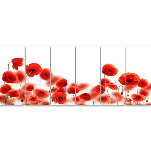 - Design Art PT13003-70-28-6P Lovely Poppy Flowers on White - Modern Floral Artwork on Canvas,70x28-6 Panels