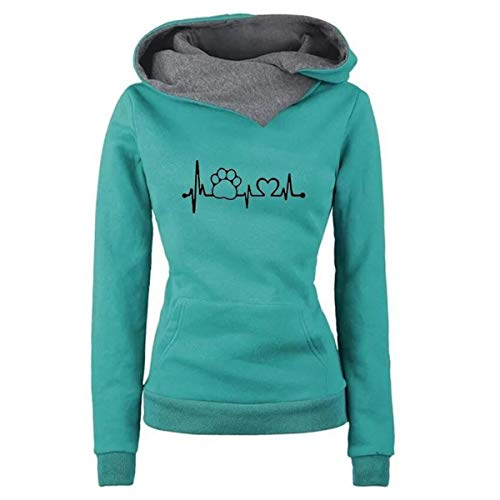 - Heartbeat Paw Print Pullover Hoodie Pocket Women's Hooded Sweatshirt Streetwear (Color : Green, Size : XL)