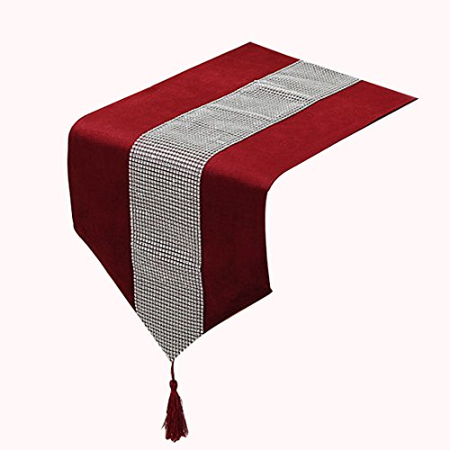 uxcell Colored Table Runner With Diamante Strip And Tassels (13inch x 72inch) (Red) - Gray And Red Table Runner