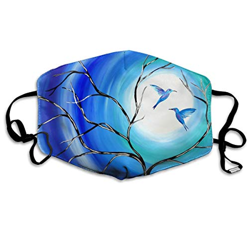 Mouth Mask Full Moon Tree Birds Love Blue Earloop Face Masks - Adjustable Elastic Band for Travel Cycling, Anti Bacteria Dustproof Respirator, Half Face Mouth Mask/Cover -