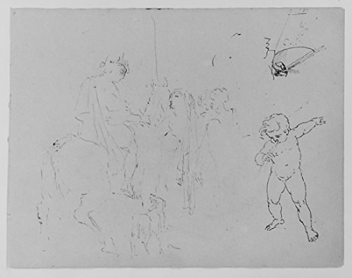 Standing Woman; Child Leaning by a Fishbowl; Weeping Putto; Mounted Soldier; Kicking Horse and Fallen Rider; Half-length Seated Figure; Rowboat (from Sketchbook) Poster Print by Thomas Sully (American, Horncastle, Lincolnshire 1783â€