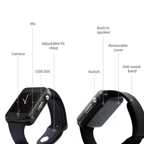 Bluetooth Smart Watch Phone with Camera Support SIM Card Slot Sport Watch Activity Tracker for IOS iPhone, Android Samsung HTC Sony LG Smartphones