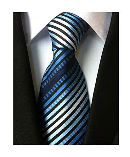 Men's Stripe Blue Black White Silk Tie Formal Soft Necktie Best Fathers day Gift