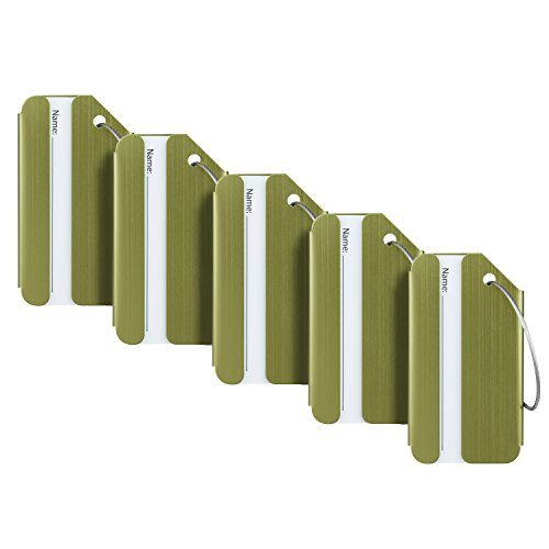 - Travelambo Luggage Tags & Bag Tags Stainless Steel Aluminum Various Colors (army green 5 pcs set)