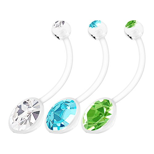 3pcs Flexible Bioflex Long Belly Button Rings 14g 19mm Clear Aquamarine Peridot Crystal Pregnancy Navel Piercing Jewelry 1217