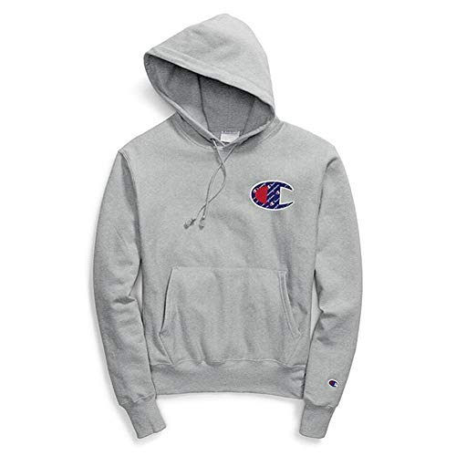 Champion LIFE Men's Reverse Weave Pullover Hoodie, Oxford Gray/Sublimated c Logo XX-Large
