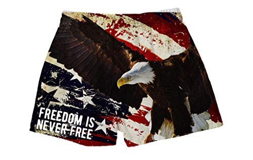 BRIEF INSANITY Men's Boxer Shorts Underwear USA Flag & Eagle Print