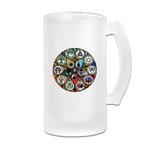MTG Stained Glass Frosted Glass Tumbler Beer Cup 16 Oz Water Glass Drinkware
